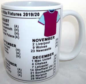 Aston Villa fixtures novelty mug